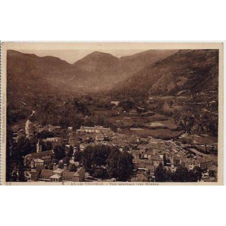 Carte postale 74 - Aix-les-Thermes - Vue generale vers Merens - Voyage - Dos divise