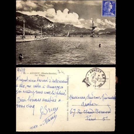 Carte postale 74 - Annecy - La Plage - CPSM