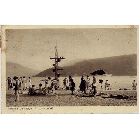 Carte postale 74 - Annecy - La plage - Voyage - Dos divise