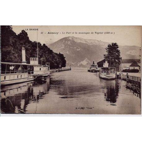 Carte postale 74 - Annecy - Le port et la montagne de Veyrier - Non voyage - Dos divise