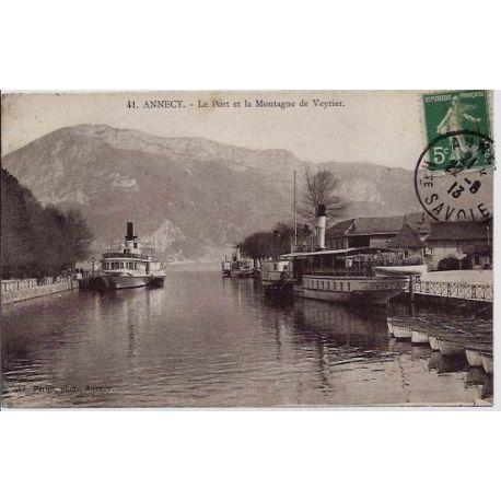 Carte postale 74 - Annecy - Le port et la montagne de Veyrier - Voyage - Dos divise