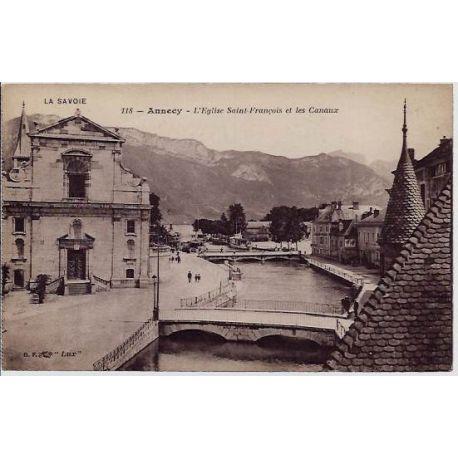 Carte postale 74 - Annecy - L'eglise Saint-Francois et les canaux - Non voyage - Dos divise