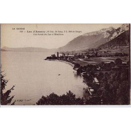 Carte postale 74 - Annecy - Les bords du lac a Menthon- Non voyage - Dos divise