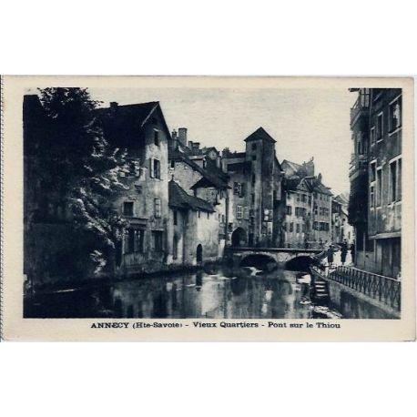 Carte postale 74 - Annecy - Vieux quartiers - Pont sur le Thiou - Non voyage - Dos divise