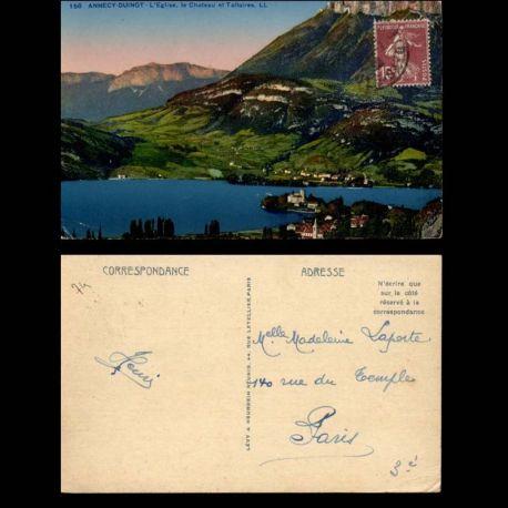 Carte postale 74 - Annecy-Duingt - L'eglise - le chateau et Talloires