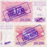 Schone Banknote Bosnien Pick Nummer 34 - 100000 Dinara 1993