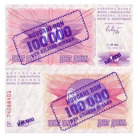 Billets de collection Billet de collection Bosnie Pk N° 34 - 100000 Dinara Billets de Bosnie 2,00 €