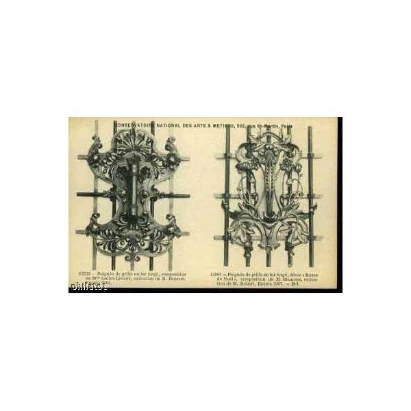 Carte postale 2 poignees de grille en fer forge - Grille en fer forge ...