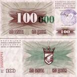 Billets de banque Bosnie Pk N° 56 - 100000 Dinara