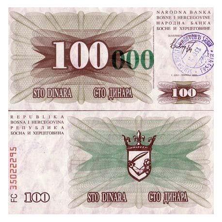 Billets de collection Billets de banque Bosnie Pk N° 56 - 100000 Dinara Billets de Bosnie 5,00 €