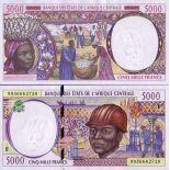 Collezione di banconote Repubblica Centrafricana Pick numero 304 - 5000 FRANC 1993