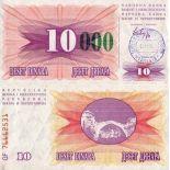Bello banconote Bosnia Pick numero 53 - 10000 Dinara 1993