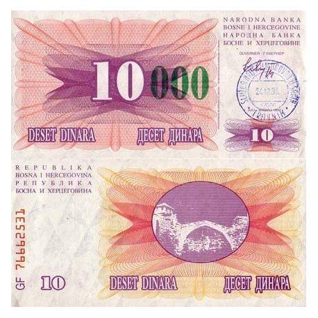 Billets de collection Billets collection Bosnie Pk N° 53 - 10000 Dinara Billets de Bosnie 5,00 €