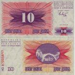 Banconote Bosnia Pick numero 10 - 10 Dinara 1992