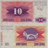 Los billetes de banco Bosnia Pick número 10 - 10 Dinara 1992