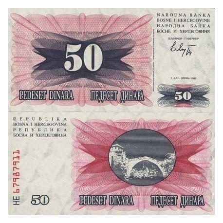 Billets de collection Billets de banque Bosnie Pk N° 12 - 50 Dinara Billets de Bosnie 1,50 €