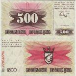 Colección Billetes Bosnia Pick número 14 - 500 Dinara 1992