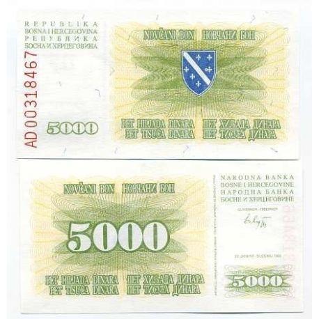 Billets de collection Billet de banque Bosnie Pk N° 16 - 5000 Dinara Billets de Bosnie 15,00 €