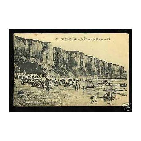Carte postale 76 - Le Treport - La plage et la falaise