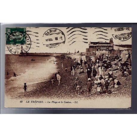 Carte postale 76 - Le Treport - La plage et le Casino - Voyage - Dos divise