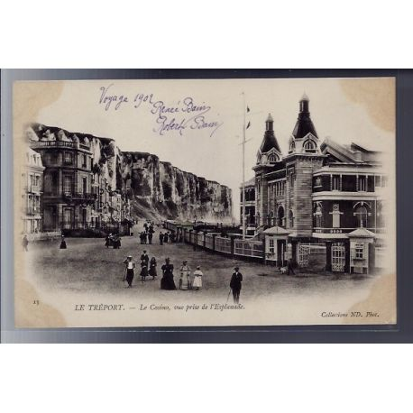 Carte postale 76 - Le Treport - Le casino - vue prise de l' esplanade - Non voyage - Dos