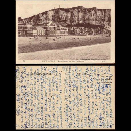 Carte postale 76 - Le Treport - Le casino et les falaises