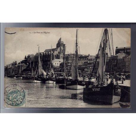 Carte postale 76 - Le Treport - Le port et l' Eglise - Voyage - Dos divise