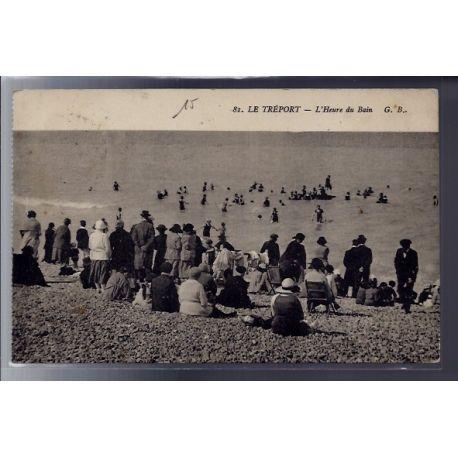 Carte postale 76 - Le Treport - l'heure du bain - Voyage - Dos divise