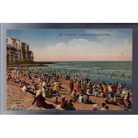 Carte postale 76 - Le Treport - L'heure du bain sur la plage - Non voyage - Dos divise