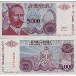 Colección de billetes Bosnia Pick número 149 - 5000 Dinara 1993