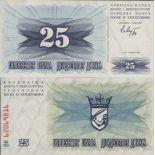 Sammlung von Banknoten Bosnien Pick Nummer 11 - 25 Dinara 1992