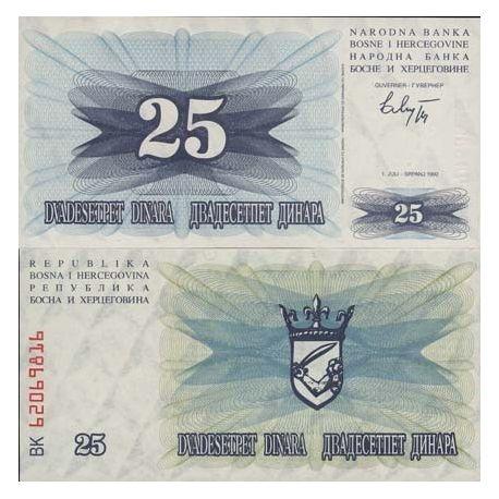 Billets de collection Billet de collection Bosnie Pk N° 11 - 25 Dinara Billets de Bosnie 1,50 €