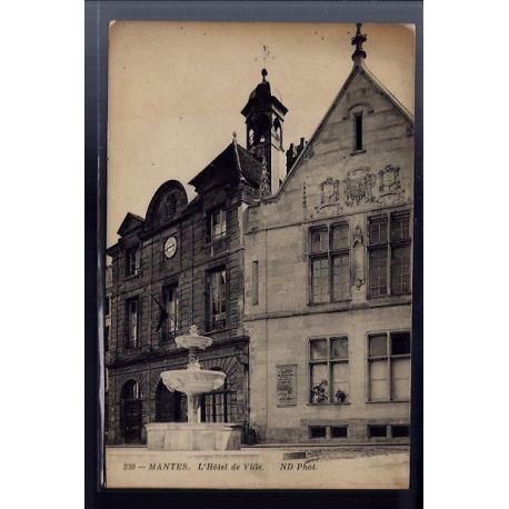 Carte postale 78 - Mantes - l' Hotel de Ville - Non voyage - Dos divise