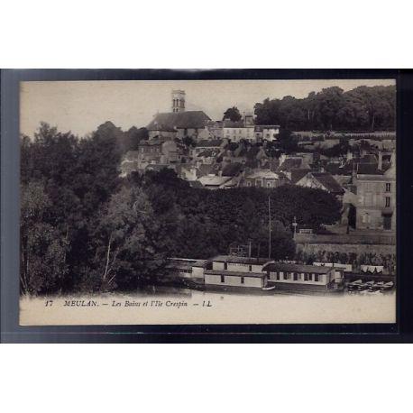 Carte postale 78 - Meulan - les bains de l' Ile Crespin - Non voyage - Dos divise