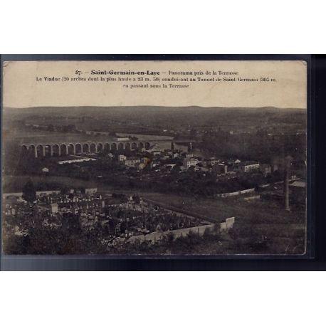 Carte postale 78 - Saint-Germain-en-Laye - Panorama pris de la terrasse - le Viaduc cond