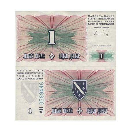 Billets de collection Billets de banque Bosnie Pk N° 39 - 1 Dinar Billets de Bosnie 2,00 €