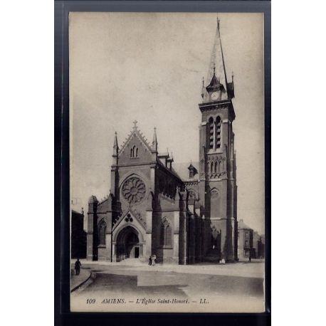 Carte postale 80 - Amiens - L' eglise Saint-Honore - Voyage - Dos divise