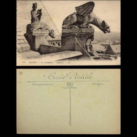 Carte postale 80 - Amiens - LA cathedrale - Chimeres