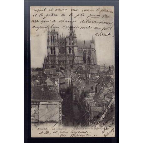 Carte postale 80 - Amiens - la Cathedrale - vue generale prise du Beffroi - Voyage - Dos