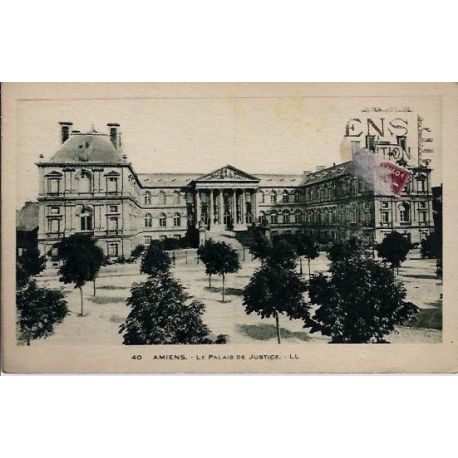 Carte postale 80 - Amiens - Le palais de Justice - Voyage - Dos divise