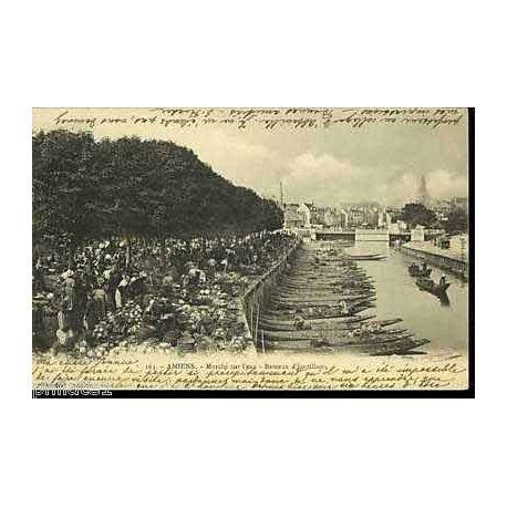 Carte postale 80 - Amiens - Marche sur l'eau - Bateaux d'hortillons
