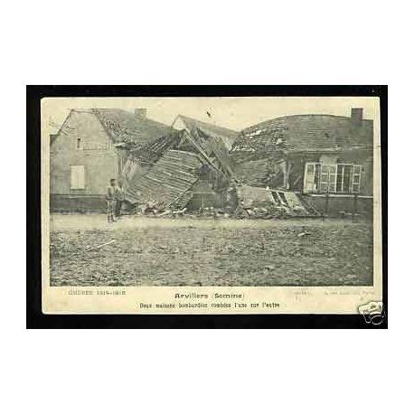 Carte postale 80 - Arvillers - Deux maisons bombardees