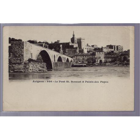 84 - Avignon - Le Pont St-Benezet et Palais des Papes - Non voyage - Dos no