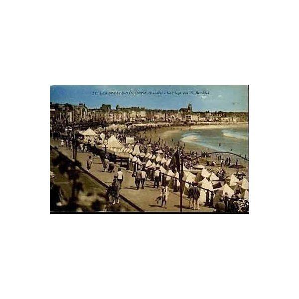 85 les sables d 39 olonne plage vue du remblai la. Black Bedroom Furniture Sets. Home Design Ideas