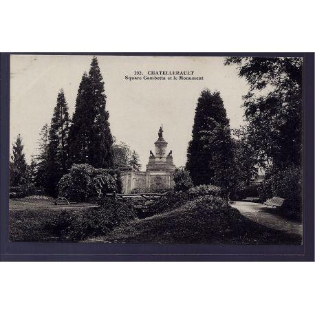 86 - Chatellerault - square Gambetta et le Monument - Voyage - Dos divise