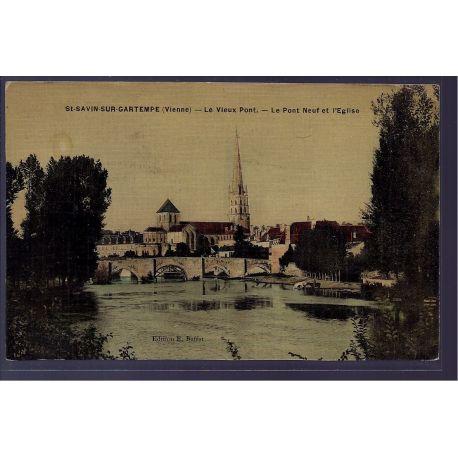 86 - St-Savin-sur-Gartempe - le vieux pont - le Pont neuf et l' eglise - No