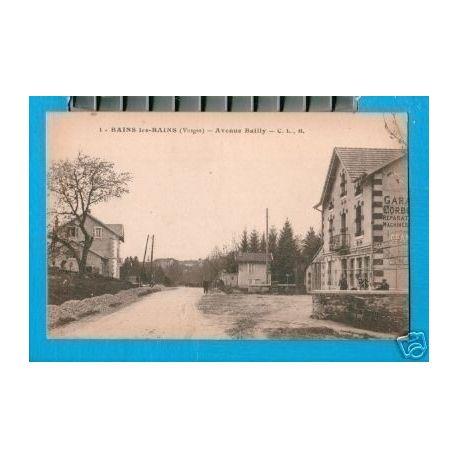 Carte postale 88 - BAINS LES BAINS - AVENUE BAILLY - GARAGE