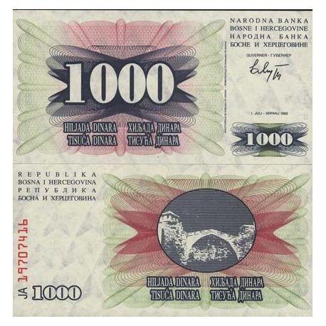Billets de collection Billet de banque Bosnie Pk N° 15 - 1000 Dinara Billets de Bosnie 1,50 €