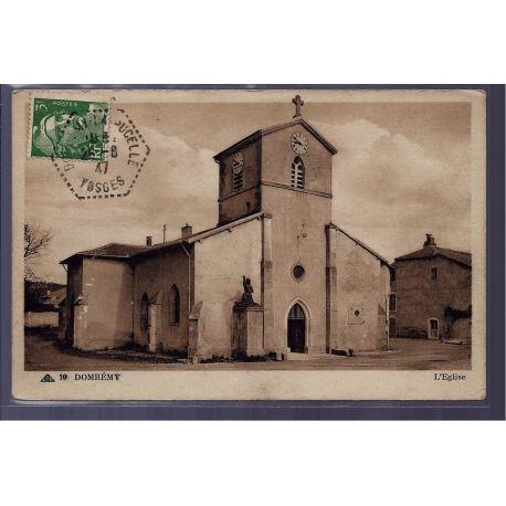 Carte postale 88 - Domremy - l' eglise - Voyage - Dos divise