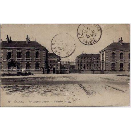 Carte postale 88 - Epinal - La caserne Courcy - L'entree - Voyage - Dos divise